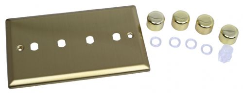 Varilight WYD4.BB Urban Brushed Brass 4 Gang Dimmer Plate Only + Dimmer Knobs
